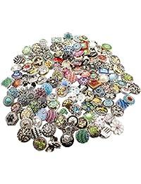 Soleebee mixte aléatoire 18mm alliage strass boutons pression Bijoux Charms Accessoires bricolage 20pcs