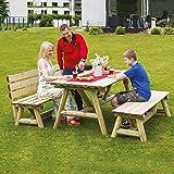 Gartengarnitur Holz massiv Sitzgruppe mit Tisch und 2x Gartenbank von Gartenpirat®