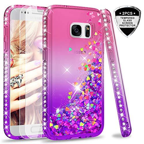 LeYi Hülle Galaxy S7 Glitzer Handyhülle mit Panzerglas Schutzfolie(2 Stück),Cover Diamond Rhinestone Bumper Schutzhülle für Case Samsung Galaxy S7 Handy Hüllen ZX Gradient Pink Purple