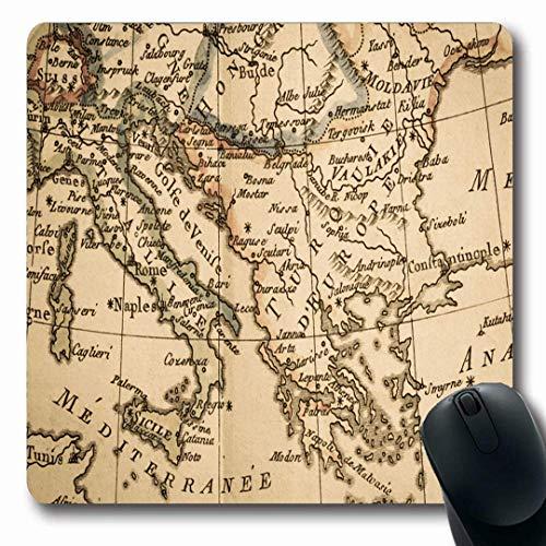 Luancrop Mousepads EU Antique Old Map Italien Griechenland World 18. Jahrhundert Albanien Bosnien Kontinent Design rutschfeste Gaming Mouse Pad Gummi längliche Matte