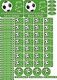 INDIGOS UG Namensaufkleber/Sticker - A4-Bogen - 012 - Fußball - 69 Sticker für Kinder, Schule und Kindergarten - Stifte, Federmappe, Lineale - auch für Erwachsene - individueller Aufdruck