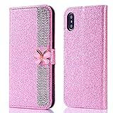 Misteem Coque pour iPhone XS/X Glitter Strass, Mignon Papillon Diamant Cuir...