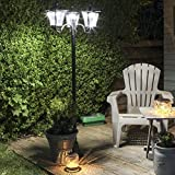 2,1m, 3-flammige klassische Außen Solar Leuchte, schwarz, LEDs in weiß, von Festive Lights