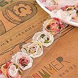 Nicole Diary Rose flor de encaje borda de gasa de organza bordado bordado de corte de cinta de costura de apliques 1 Yard 1 Row