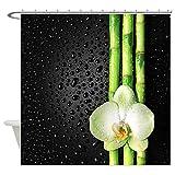 LEPO'S Lepo Bambus Orchidee Vorhang für die Dusche für Badezimmer-Wasserdicht, Polyester, weiß, 60W*70H inch
