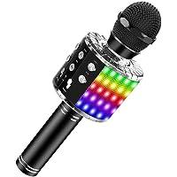 SaponinTree Microfono Karaoke Bluetooth Portatile, Microfono Bluetooth con Luce LED Altoparlante Funzione di…