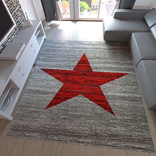 Teppich-Home Kurzflor Teppich Wohnzimmer Stern Muster Meliert Rot. Schwarz, Beige Grau Pflegeleicht, Farbe:Rot, Maße:80x250 cm