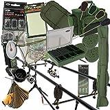 Komplett Karpfenangeln Setup 2 Stangen und Walzen mit Carry All Alarm Gerät PVA Pod Haken Matte und mehr