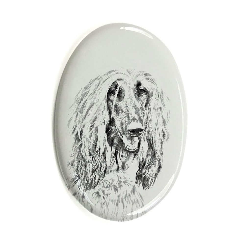 ArtDog Ltd. Afghan Hound, oval gravestone from ceramic tile with an image of a dog