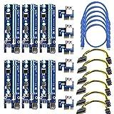 6-pack PCIe Dual Puce Alimenté par port PCI-E 16x vers 1x Riser carte adaptateur W/60cm câble d'extension USB 3.0et câble d'alimentation PCI-E 6broches vers SATA pour Bitcoin Mining (lot de 6)