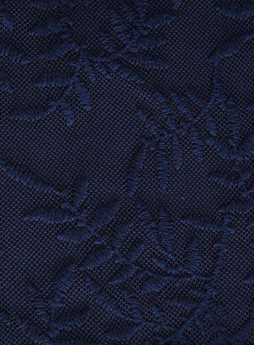 oodji Ultra Femme Top en Dentelle Bleu (7900N)