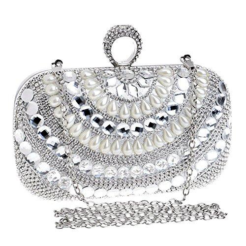 Pearl Dinner Bag Fashion Mini Schulter Umhängetasche Brautkleid Bankett Abendtasche Clutch Handtasche - Silber -
