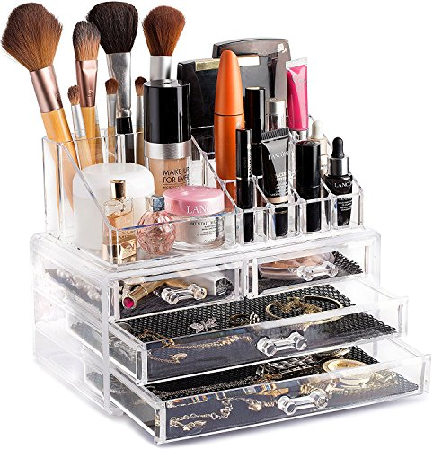 PETRICE Clear Acrylic Cosmetic Organiser Display Table Storage Stand for Make Up, 4 Drawer Nail Polish, Varnish, Arts and Crafts, Brush Sets, and Jewellery Organiser