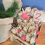 2 x Nikolaussack aus Jute, großes Säckchen, ideale Verpackung für Weihnachten, 100% Naturfaser, Hochzeit, Deko, Advent, Geschenk-Sack, Geburtstag, Santa, Deko, Farbe: Hellbraun, von BlueFox - 4