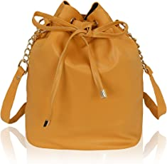 Kleio Stylish Solid Color Bucket Sling Bag for Women /Girls