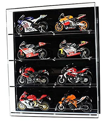 Acrylic Wall Display Case for 1:12 Scale Motorcycles - 4 Shelves