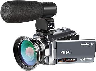 Kamera Camcorder,Ansteker 4K Ultra HD Videokamera 48MP 16x Digital Zoom Digitalkamera mit Infrarot Nacht Vison, Externem Mikrofon,Weitwinkelobjektiv, 3.0IN Rotation Touch Screen