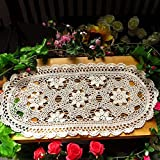 ustide Hand gehäkelte Baumwolle Spitze Tischläufer beige Tischsets oval Tisch Deckchen, 30x 70,1cm