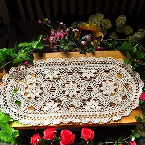 te Baumwolle Spitze Tischläufer beige Tischsets oval Tisch Deckchen, 30x 70,1cm ()
