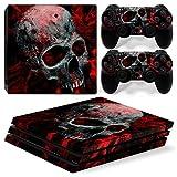 Stillshine PS4 Pro Vinyl Skin Decal Autocollant Sticker pour Playstation 4 Pro console & 2 Dualshock Manette Set (Skull Red)