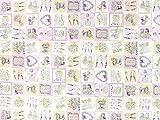 Dekostoff Lavendel, creme/lavendel, Meterware ab 0,5 m