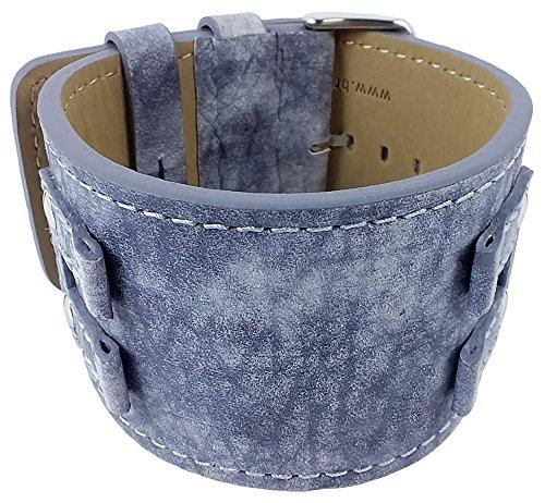 Bruno Banani Ersatzband Uhrenarmband Leder für XT Rectangular BR20922, Farbe:blau