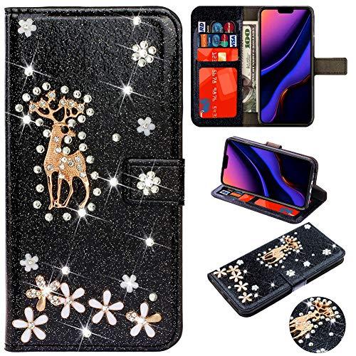 Custodia in Pelle Portafoglio per Samsung A8 2018,Retro Elegante Fashion Loves Sparkle Bling Glitter Diamond Flip con Strap/Supporto di Stand/Carte Slot/Chiusura Magnet