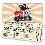 Einladungskarten zum Geburtstag als Kinokarte | 20 Stück | Inkl. Druck Ihrer Texte | Vintage | Individuelle Einladungen | Kindergeburtstag | Einladungskarte Junge Mädchen | Karte Einladung