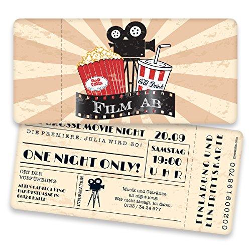 ... Einladungskarten Zum Geburtstag Als Kinokarte | 20 Stück | Inkl. Druck  Ihrer Texte | Vintage