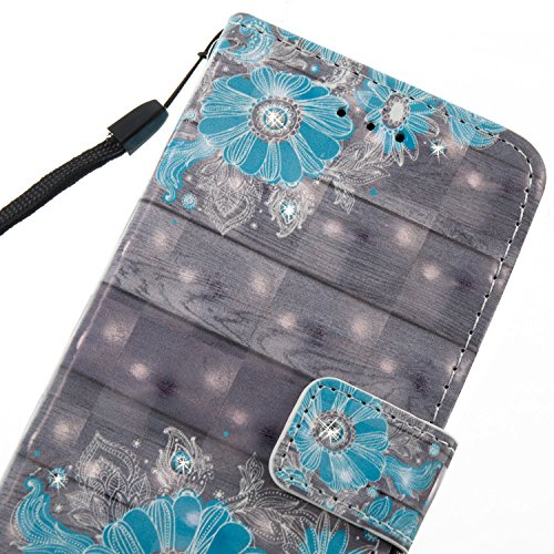 Custodia Cover per iPhone 6/6S 4.7 ,Ukayfe Luxury Glitter Modello Bumper Slim Folio Protectiva Lussuosa PU pelle Custodia Flip Cover per iPhone 6/6S 4.7 con 3D Diamante Design, [Shock-Absorption] Port Fiore Blu