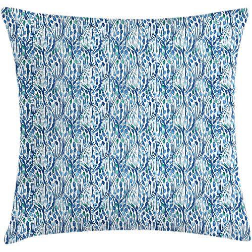 Ducan Lincoln Pillow Case 4 Stück 18X18 Zoll Blatt Dekokissen Kissenbezug,Repetitive Blätter Romantische Linien Ornamente Zeitgenössische Belaubten Layout,Hauptdekor Platz Akzent Kissenbezug -