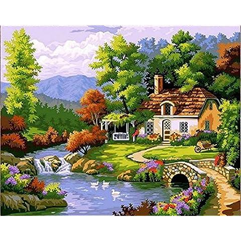 PaintingStudio casa al mare Alberi verdi Fiaba Cottage di DIY pittura a olio da corredi di numeri a mano su tela 16x20 immagine pollici dipinta (Incorniciato)