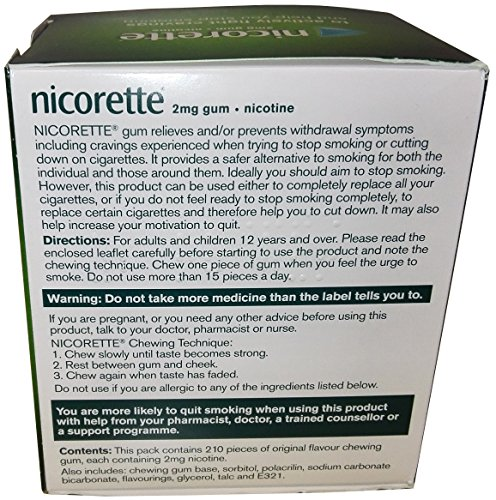 Nicorette Original Gum 2 mg, 210 Pieces