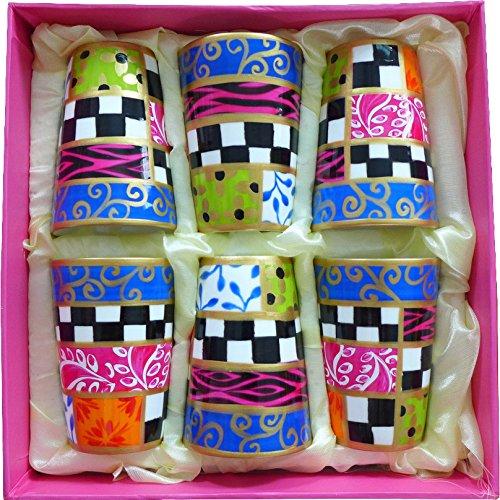 Set di 6 tazzine in porcellana per caffè espresso, dipinti con disegni originali 'Danubio Blu'. Coppette in ussuoso cofanetto regalo