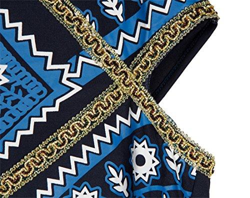 QIYUN.Z Frauen Sleeveless Rückenfreien Lace-Up Halfter Ansatz Taille Schnitt Marineblau Lange Kleid Dunkelblau