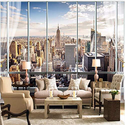Guyuell Fototapete Benutzerdefinierte 3D Stereo Neuesten Außerhalb Des Fensters New York City Landschaft Wandbild Büro Wohnzimmer Dekor Tapete-200Cmx140Cm