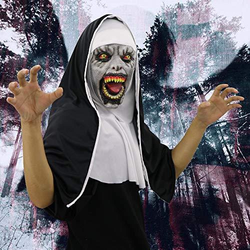 TianranRT Cosplay Unheimlich Schrecklich Nonne Maske Schmelzen Gesicht Latex Kostüm Halloween Maskerade (B)