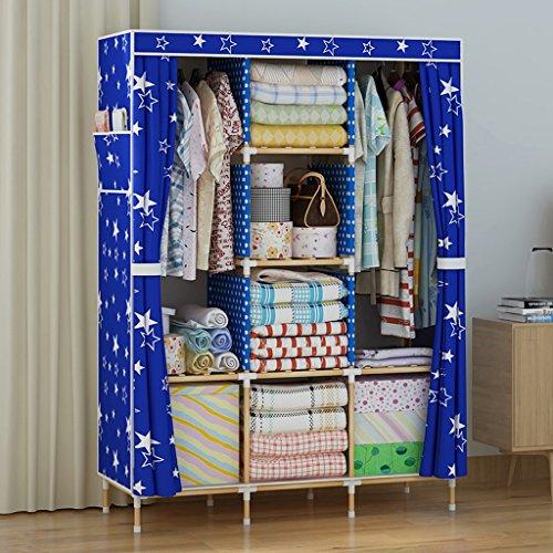 Kleiderschrank KUN Peng Shop Einfache Tuch Oxford Tuch Massivholz doppelt verstärkt Erwachsenen Einbauschrank A+ (Farbe : $5)
