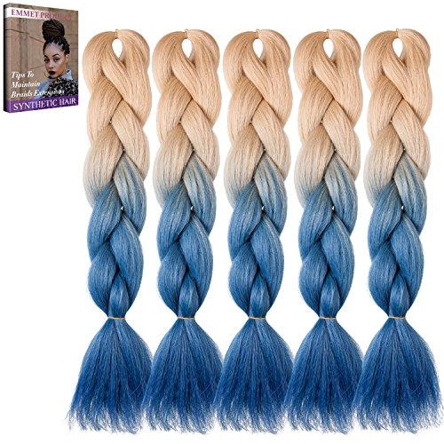 Emmet Erstklassige Qualitäts-Kasten-Jumbo-Gefäße 100% Kanekalon-Flechten Haar-Verlängerung 24Inch Volles Synthetisches Hitzebeständiges Haar Ombre 2Ton u.3Ton 5pcs/lot, mit Haar-Sorgfalt (Modelle Kostüm Populare)