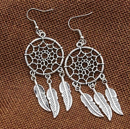 Pendientes de atrapasueños pendientes de plata vintage para mujer