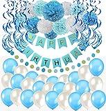 Happy Birthday Girlande Blau Weiß Pompoms Luftballons Spiralgirlanden Geburtstag Deko Partydeko set
