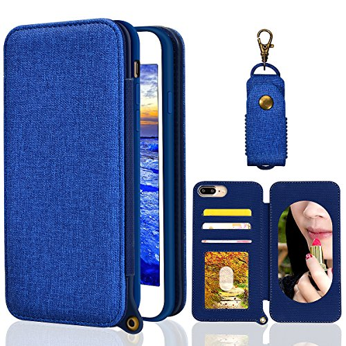 Sunroyal iPhone 7 Plus Bookstyle Étui Housse Coque iPhone 8 Plus Flip Coque Étui à Rabat de type Flip Cover en Denim de lin + TPU Matte Case protection Portefeuille Coque Folio Porte cartes avec Suppo Denim Bleu