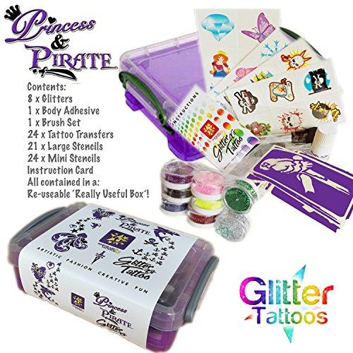 Princess and Pirate Glitter Body Art Tattoo Kit / Gift (Kit Pirate)