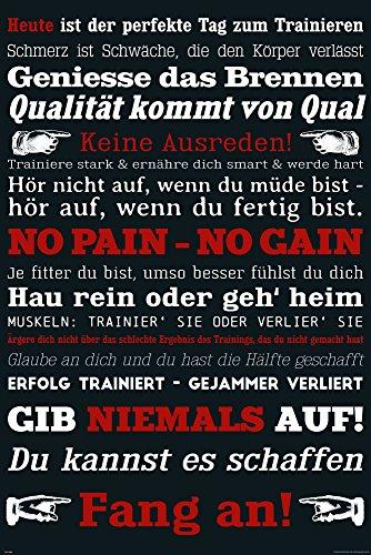 empireposter Motivational - Gym Training - Keine Ausreden! Schwarz - Motivations Poster Plakat Druck - Größe cm