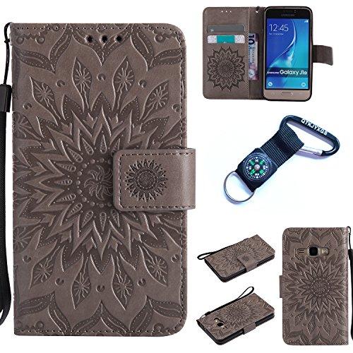 Preisvergleich Produktbild Galaxy J1 (2016) Hülle Blume Premium PU Leder Schutzhülle für Samsung Galaxy J1 (2016) J120 (4,5 ZollBookstyle Tasche Schale PU Case mit Standfunktion+Outdoor Kompass Schlüsselanhänge) (3)