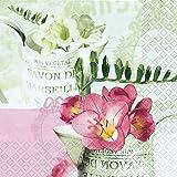 20 Servietten Freesien Blumen Frühling Sommer Geburtstag Vintage Blumenmotiv 33 x 33cm