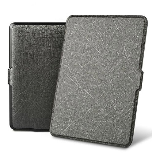 Premium (Oracle Leather) SmartShell Lightest Thinnest Protective Case with (Auto Wake/Sleep) Folio Flip Cover Case for Amazon Kindle Paperwhite 1 2 3 2012 , 2013 , 2014 , 2015 & 2016 New 300 PPI Versions with 6' Display Flip Cover Flip Case (Grayish Black)