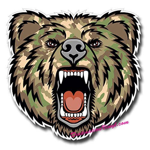 2 x Glossy Vinyl Stickers - Army Camo Angry Bear Cool Laptop Decal #0134 (As shown.)