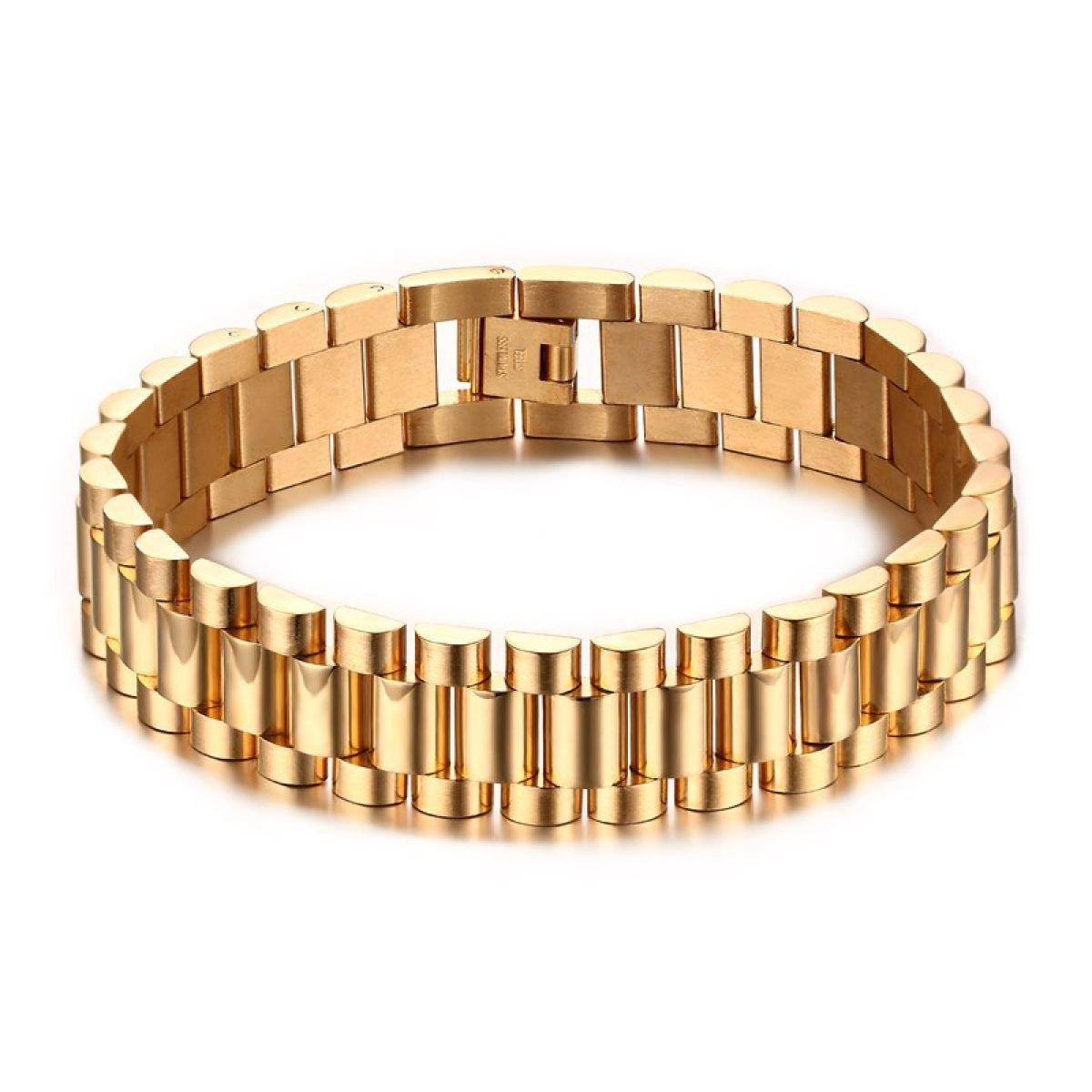 Lunghezza 22 Centimetri Placcatura In Oro Bracciale In Acciaio Inossidabile WenL Uomo
