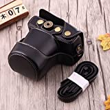 #3: Generic Full Body Camera PU Leather Case Bag with Strap for Canon EOS M10 (Black)